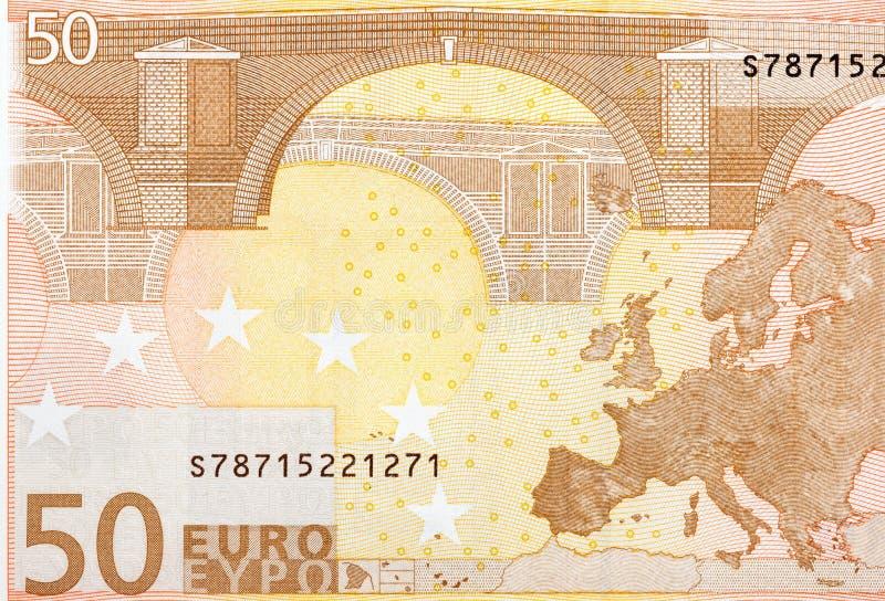 Fermez-vous vers le haut du macro détail du billet de banque d'argent de l'euro cinquante photo libre de droits