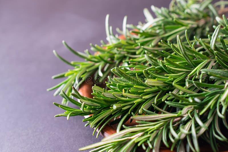 Fermez-vous vers le haut du macro tir de l'herbe verte fraîche de romarin photographie stock