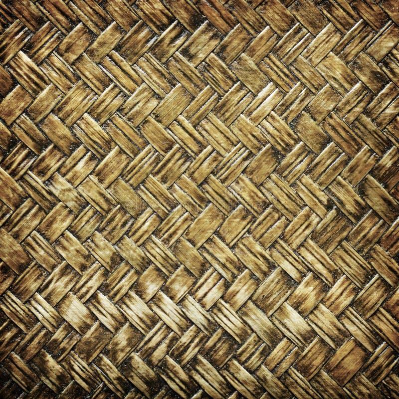 Fermez-vous vers le haut du modèle en bambou tissé, tissant le fond de modèle photographie stock