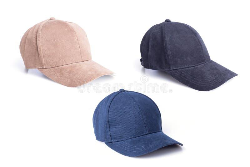 Fermez-vous vers le haut du nouveau chapeau de base-ball brun, noir et bleu d'isolement sur le petit morceau photo libre de droits