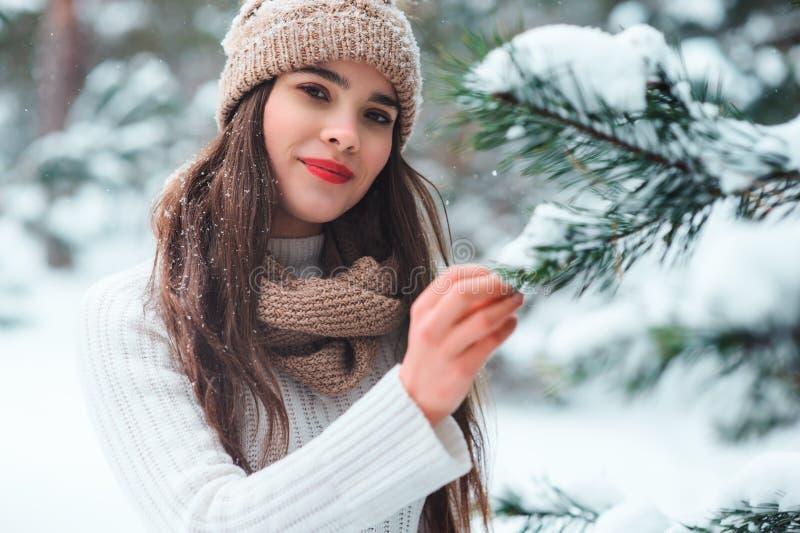 fermez-vous vers le haut du portrait d'hiver de la jeune femme de sourire marchant dans la forêt neigeuse photo stock