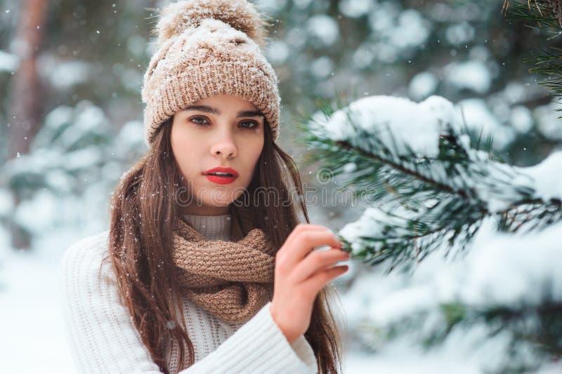 fermez-vous vers le haut du portrait d'hiver de la jeune femme de sourire marchant dans la forêt neigeuse photographie stock libre de droits