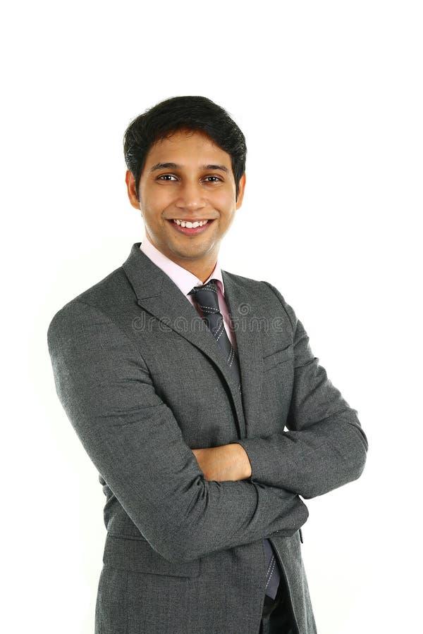 Fermez-vous vers le haut du portrait d'un homme indien de sourire d'affaires images stock