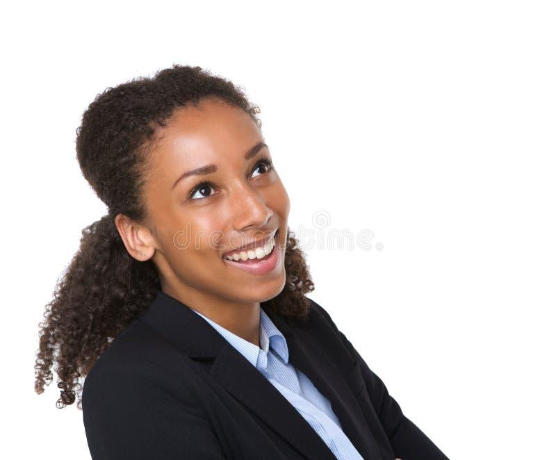 Fermez-vous vers le haut du portrait d'une femme de sourire d'affaires photographie stock