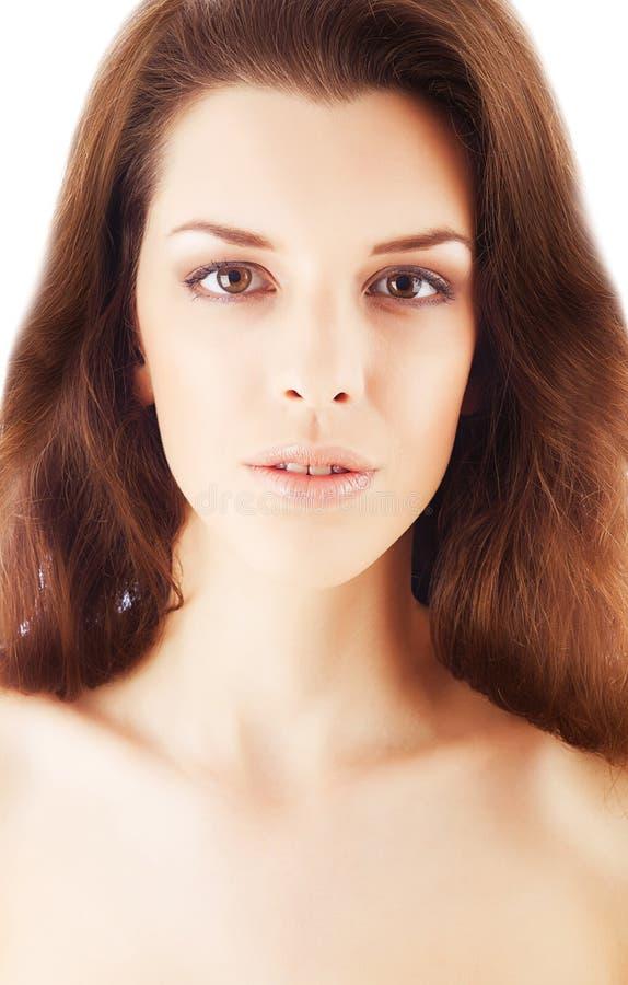 Fermez-vous vers le haut du portrait de la femme attirante en bonne santé photographie stock