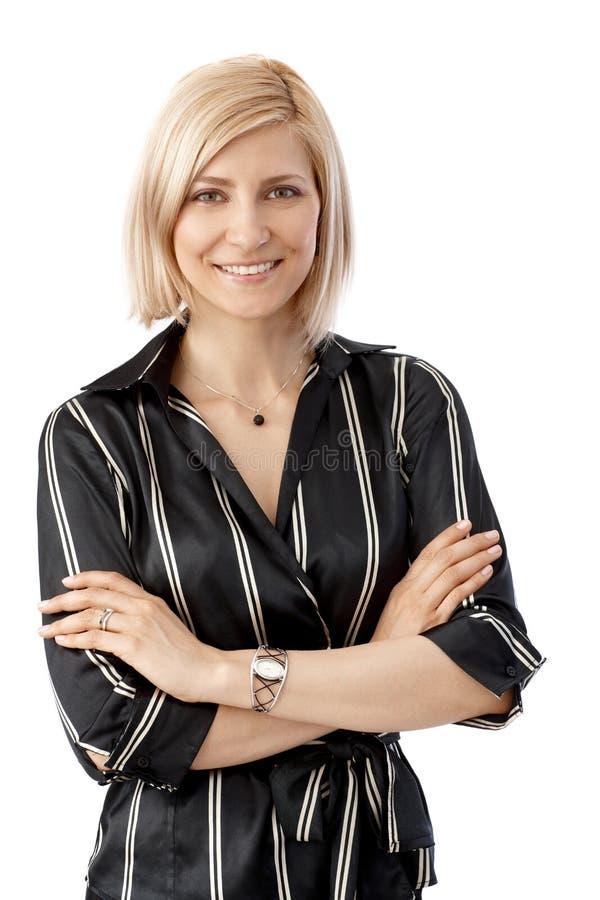 Fermez-vous vers le haut du portrait de la femme d'affaires élégante photo stock
