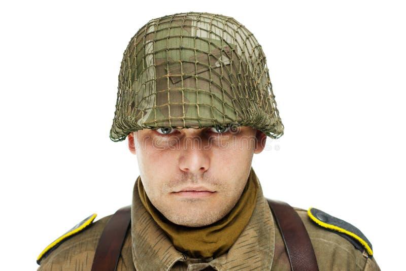 Fermez-vous vers le haut du portrait du soldat image libre de droits