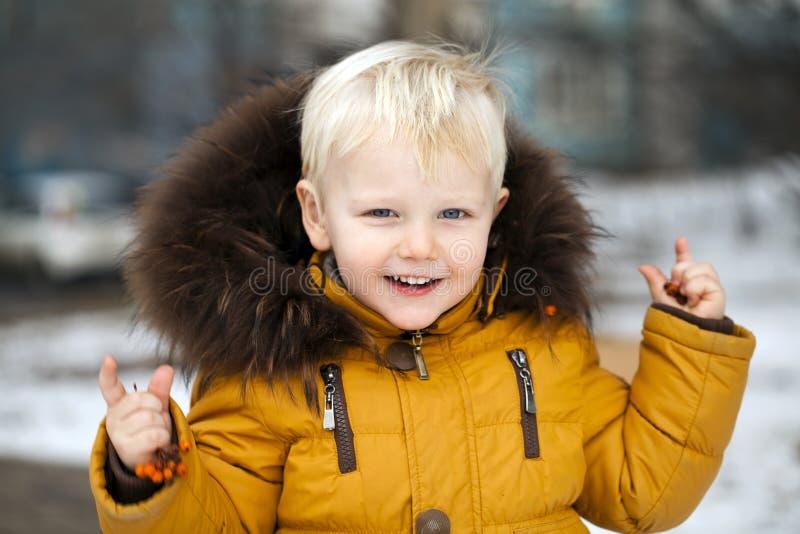 Fermez-vous vers le haut du portrait, petit garçon en parc d'hiver images libres de droits