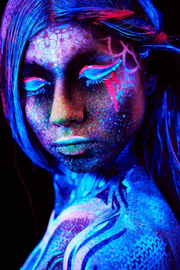 Fermez-vous vers le haut du portrait UV photographie stock