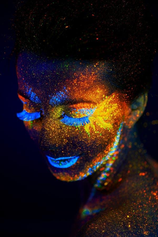 Fermez-vous vers le haut du portrait UV d'art image libre de droits