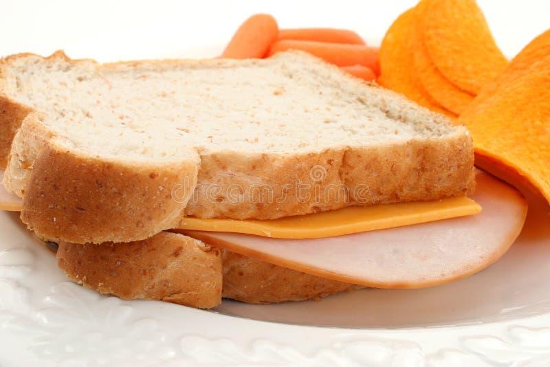 Fermez-vous vers le haut du sandwich de la Turquie et au fromage photo stock