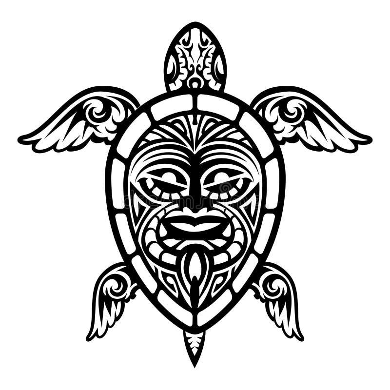 Fermez-vous vers le haut du tatouage polynésien de tortue de vecteur illustration libre de droits