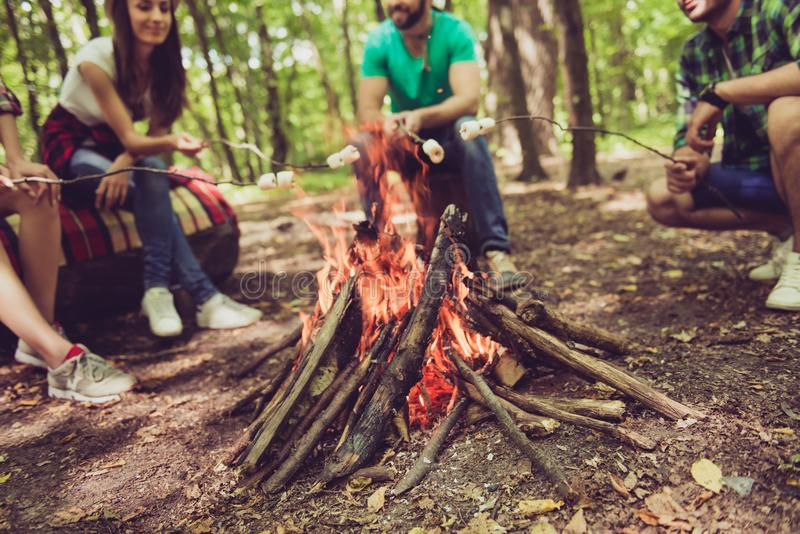 Fermez-vous vers le haut du tir cultivé de l'endroit du feu, quatre touristes sereins gais photos stock