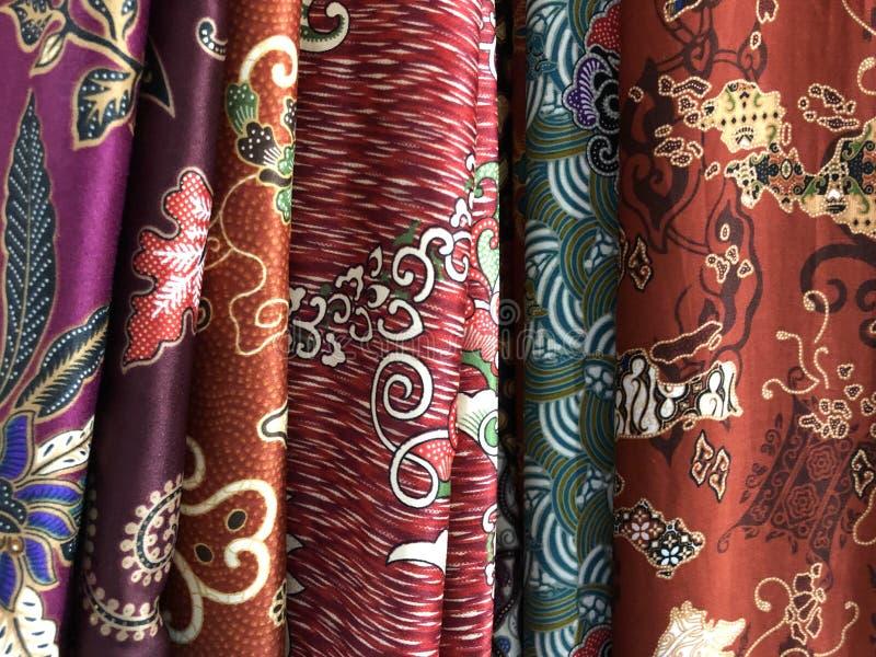 Fermez-vous vers le haut du tissu coloré et beau de batik Batik Javanese Batik indon?sien photo stock