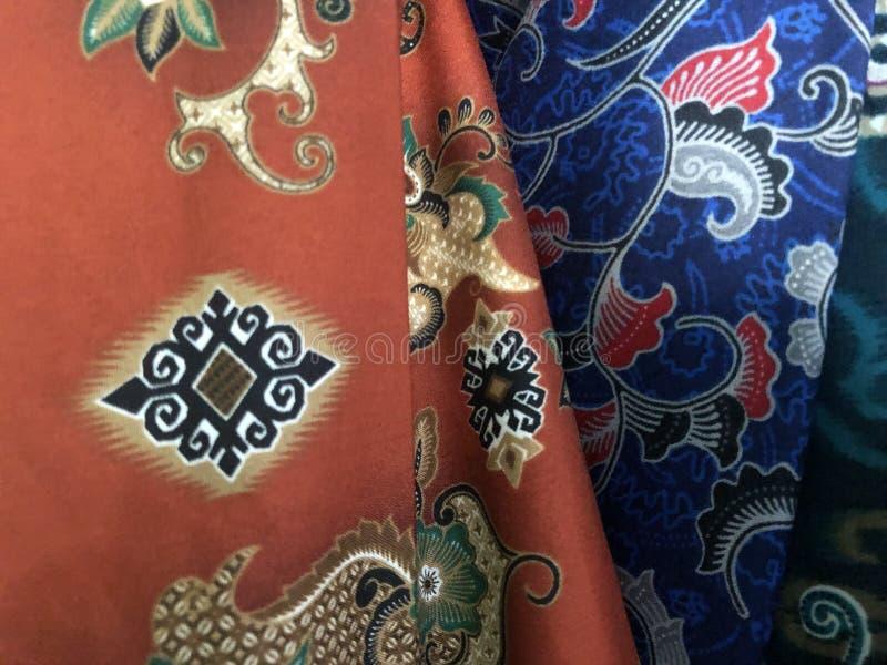 Fermez-vous vers le haut du tissu coloré et beau de batik Batik Javanese Batik indon?sien photo libre de droits