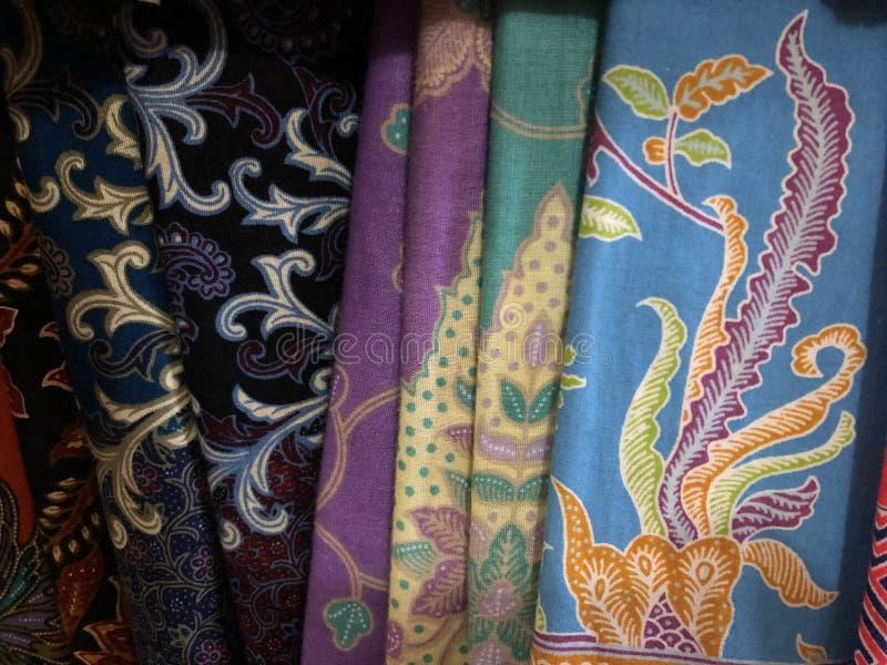 Fermez-vous vers le haut du tissu coloré et beau de batik Batik Javanese Batik indon?sien photographie stock