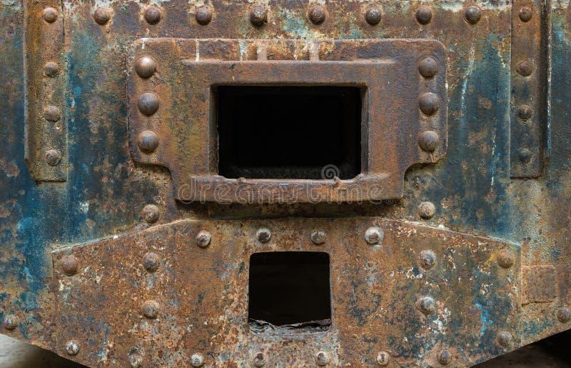 Fermez-vous vers le haut du vieux détail rouillé de train photo libre de droits