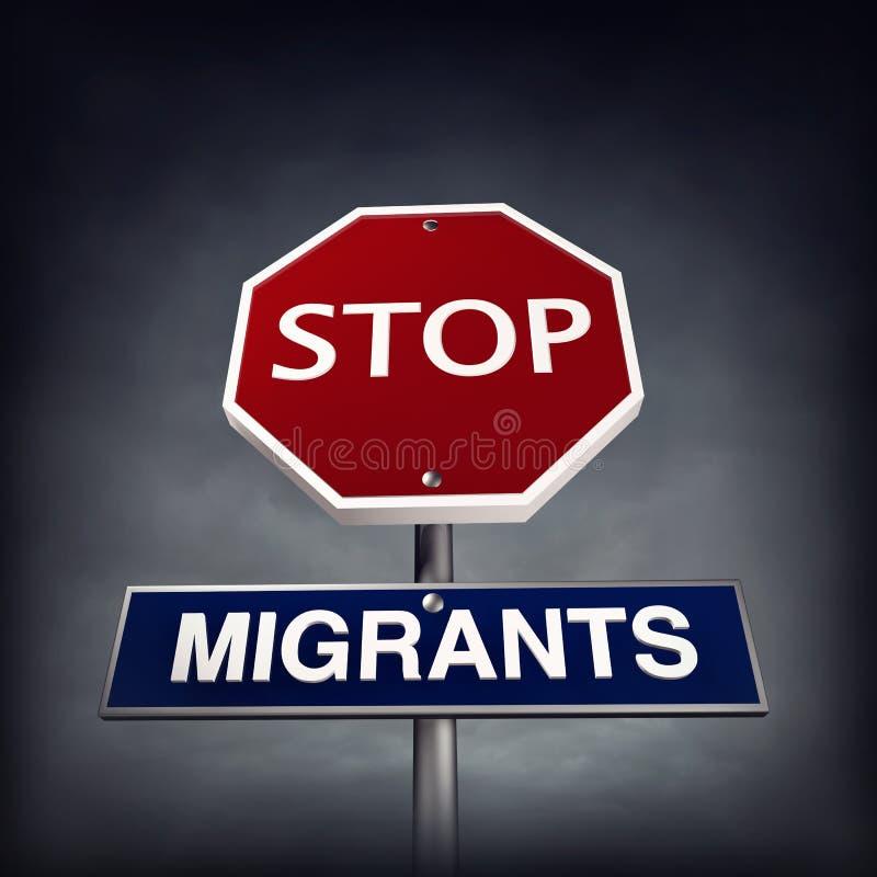 Fermi i migranti illustrazione vettoriale