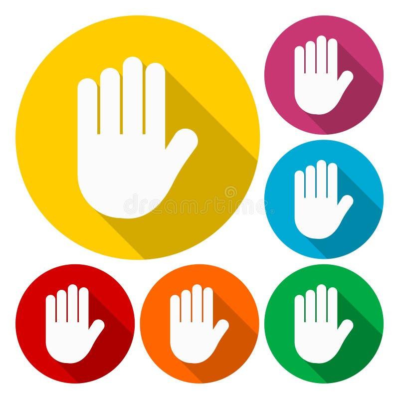 Fermi icona del segno dell'icona della mano, della mano, nessun'entrata o simbolo di arresto royalty illustrazione gratis
