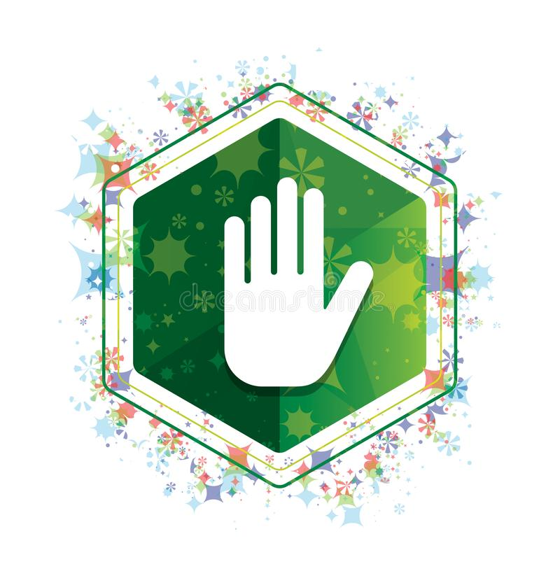 Fermi il bottone floreale di esagono di verde del modello delle piante dell'icona della mano illustrazione vettoriale