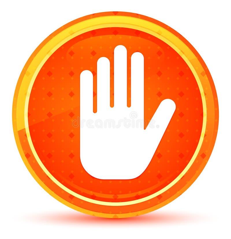 Fermi il bottone rotondo arancio naturale dell'icona della mano illustrazione di stock