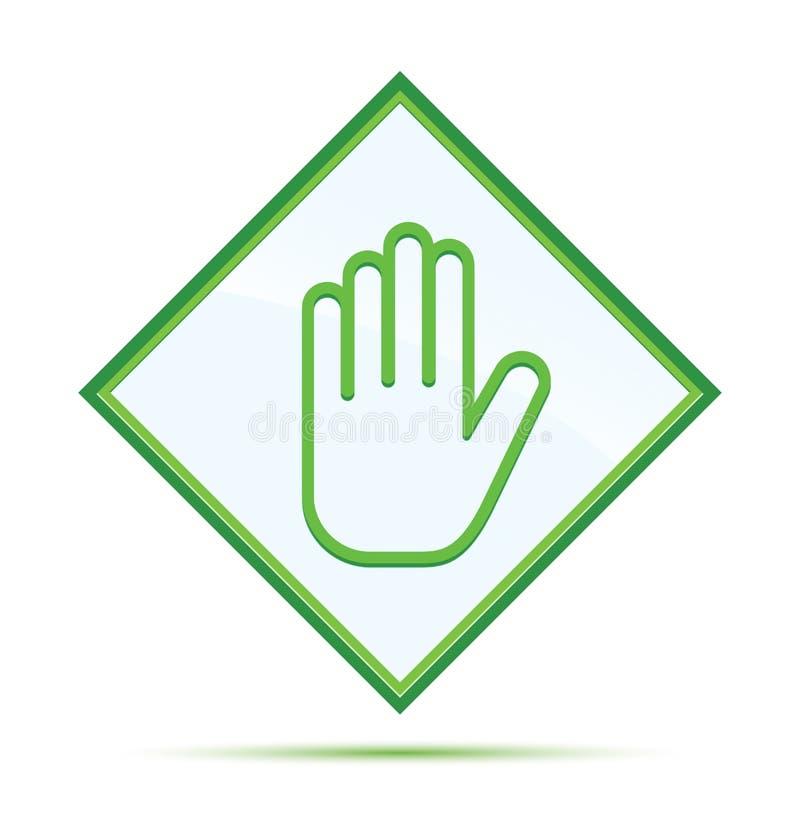 Fermi il bottone verde astratto moderno del diamante dell'icona della mano illustrazione vettoriale