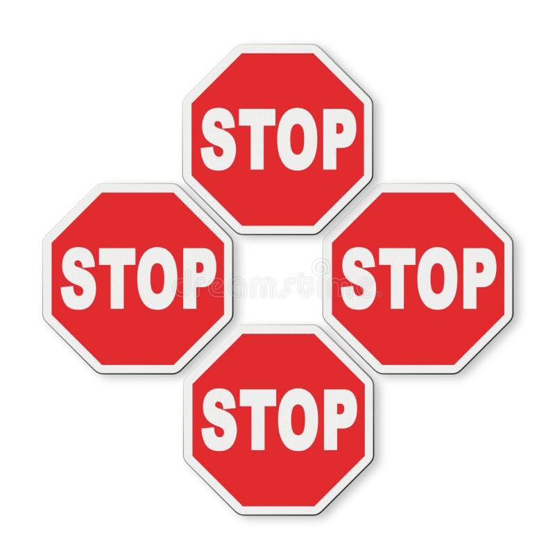 Fermi il concetto del roadsign su fondo bianco per la selezione facile illustrazione di stock