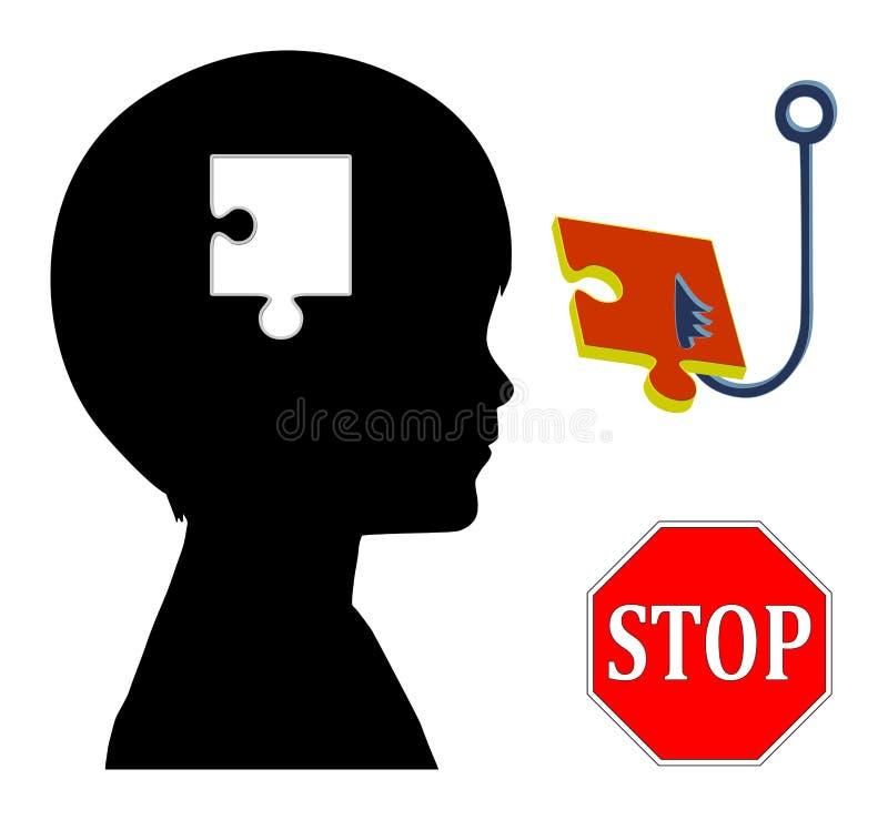Fermi il controllo di mente illustrazione di stock