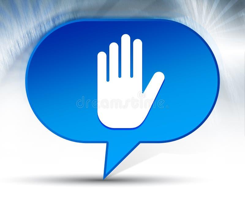 Fermi il fondo blu della bolla dell'icona della mano illustrazione vettoriale