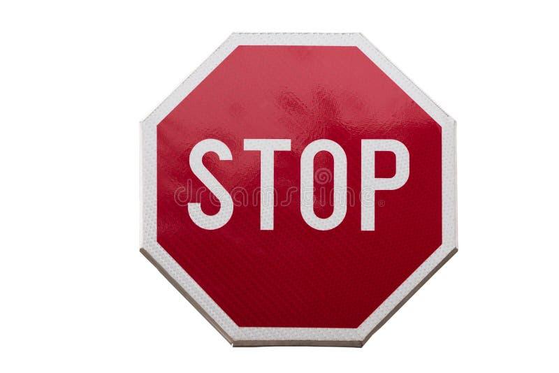 Fermi il segnale stradale isolato su fondo bianco immagine stock libera da diritti