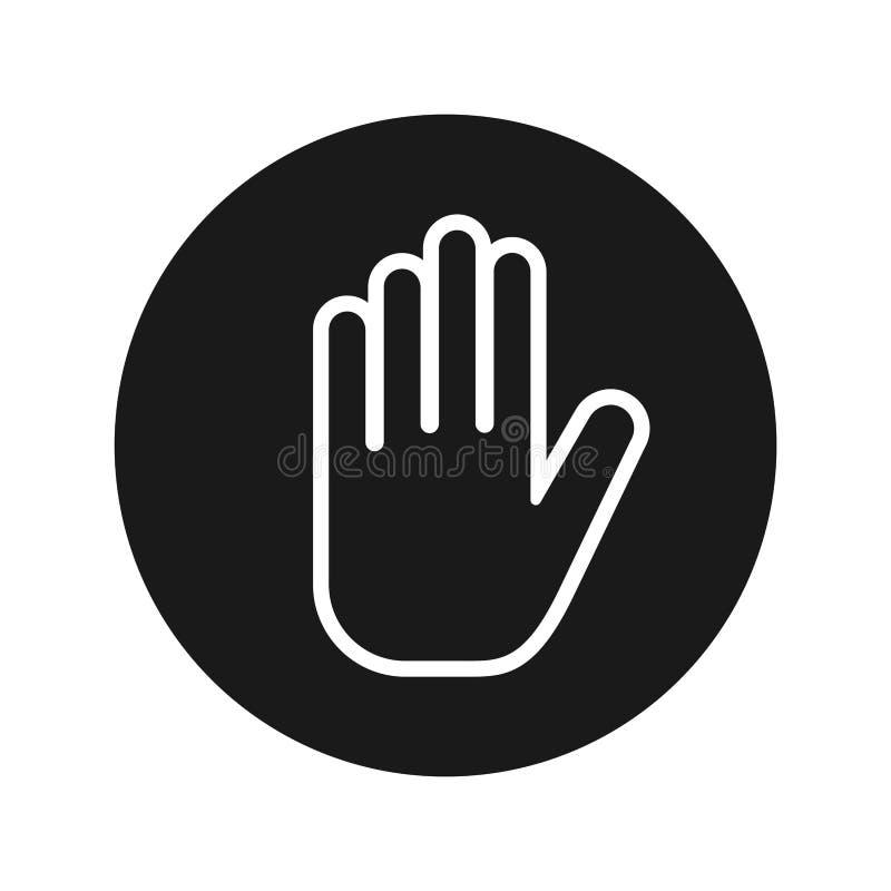 Fermi l'illustrazione rotonda nera piana di vettore del bottone dell'icona della mano illustrazione di stock