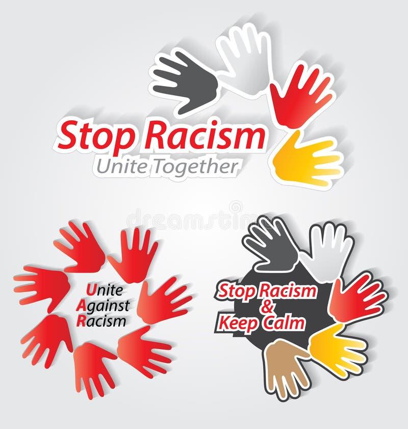 Fermi l'insieme di etichetta del razzismo illustrazione vettoriale