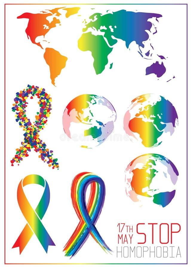 Fermi l'omofobia Nastro dai piccoli cuori nei colori della bandiera del lgbt illustrazione vettoriale