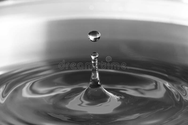 Fermi la foto di azione di goccia di acqua con la riflessione fotografia stock