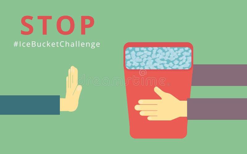 Fermi la sfida del secchiello del ghiaccio illustrazione vettoriale