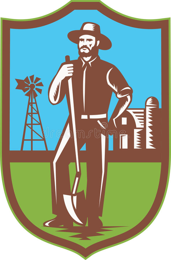 Fermier avec la grange de ferme de moulin à vent de cosse rétro illustration libre de droits