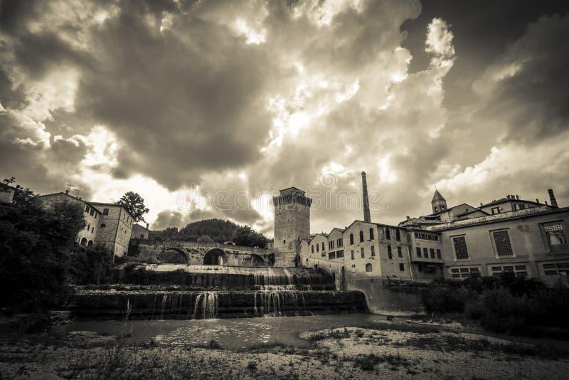 Fermignano B/W. Fermignano is a town in the province Pesaro and Urbino stock photos