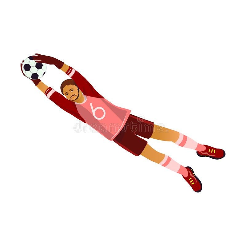 Fermo barbuto del portiere di calcio o di calcio la palla di cuoio royalty illustrazione gratis