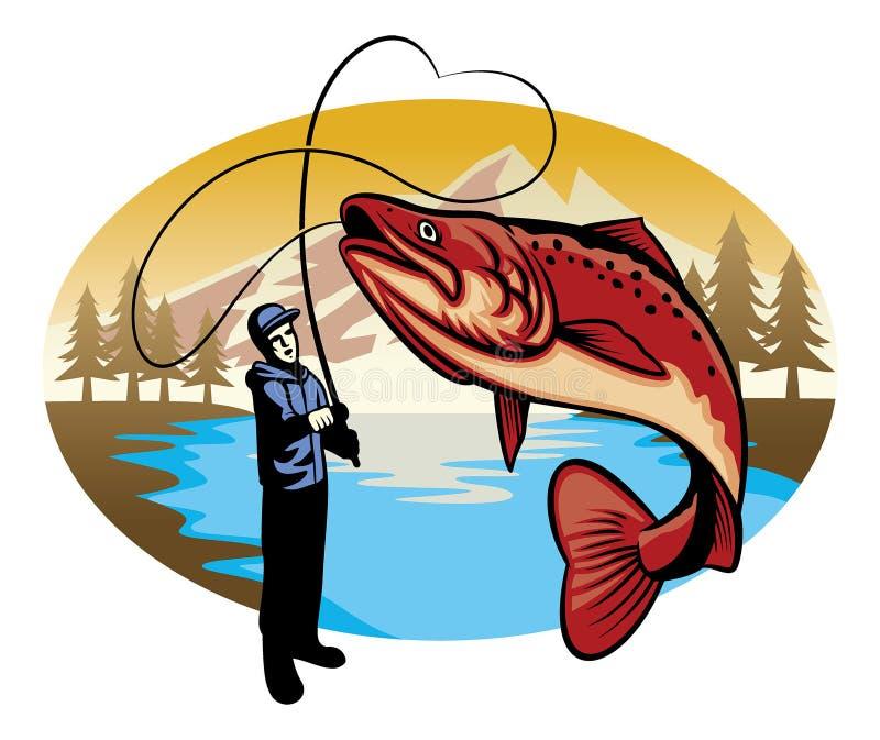 Fermo del pescatore il grande pesce royalty illustrazione gratis