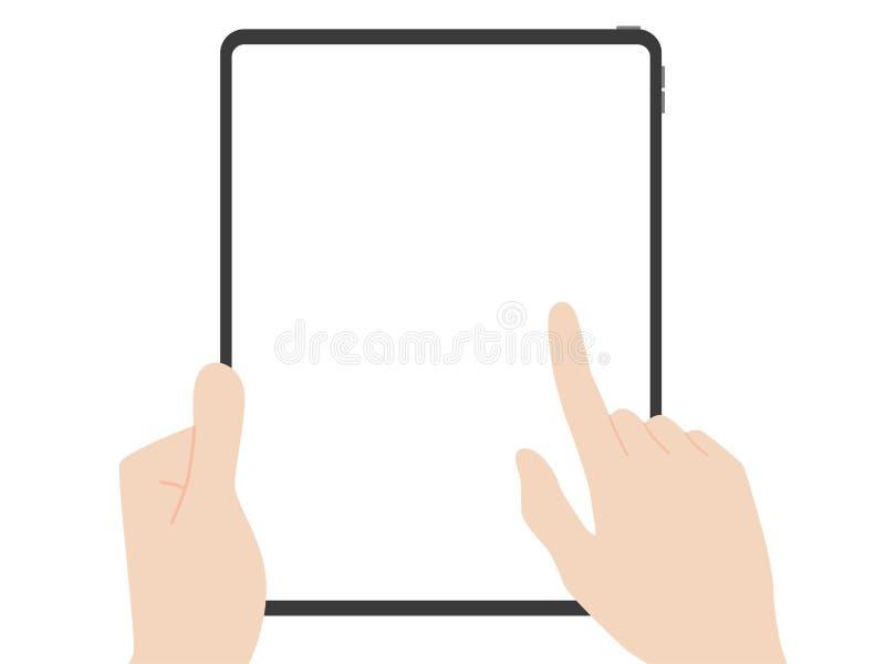 Fermo della mano ed indicare nuova tecnologia in anticipo di progettazione della nuova compressa potente illustrazione di stock