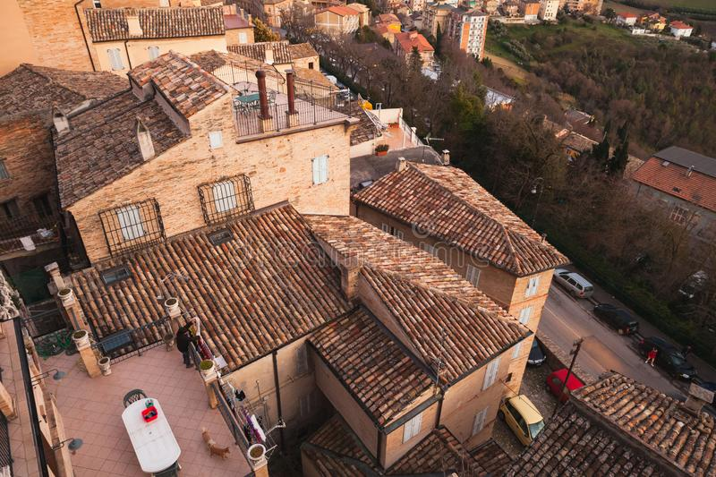 Fermo. Roofs of an old Italian town. Fermo, Italy - February 11, 2016: Cityscape of Fermo. Roofs of an old Italian town stock images