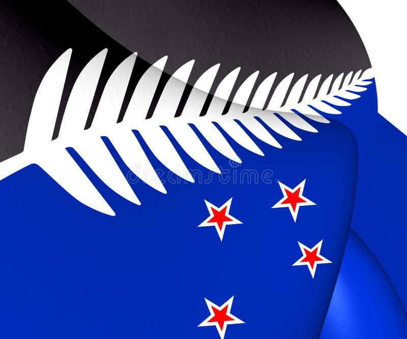 Fern Flag de plata, bandera de Nueva Zelanda stock de ilustración