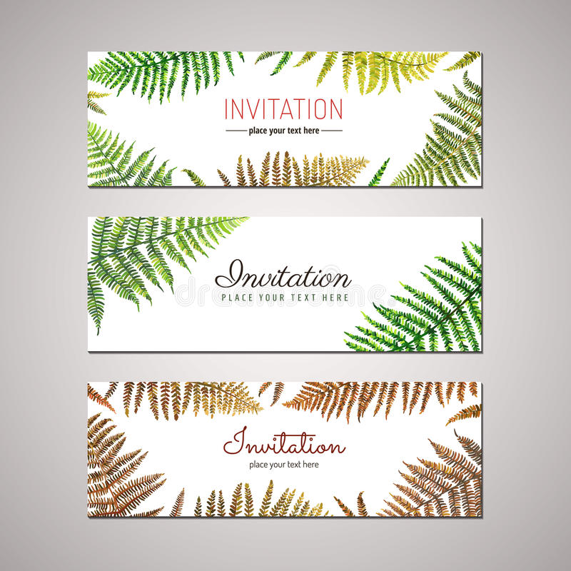 Fern invitation design vector set nature design stock vector download fern invitation design vector set nature design stock vector illustration of leaves stopboris Image collections