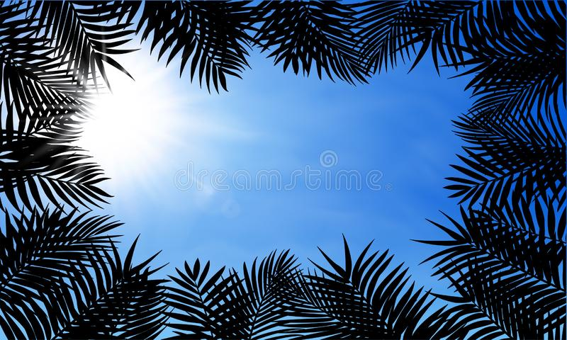 Fern leaf background with shine sun on blue sky. Green square frame on tropical leaves, fern plant – vector royalty free stock image