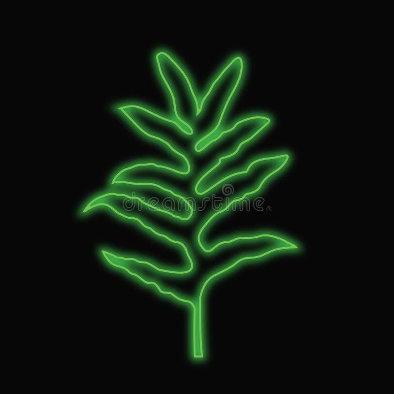 Fern Leaf Line Art que brilla intensamente Diseño del color verde, una línea ilustraciones, dibujo mínimo del contorno stock de ilustración