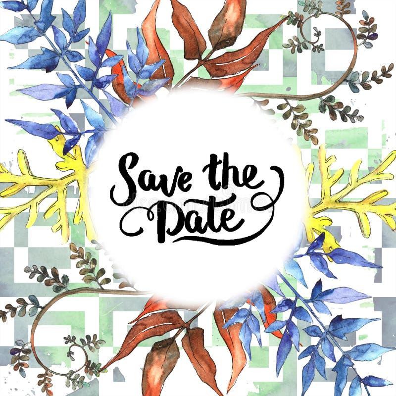 Fern Leaves Follaje floral del jardín botánico de la planta del freno de la hoja Cuadrado del ornamento de la frontera del capítu libre illustration