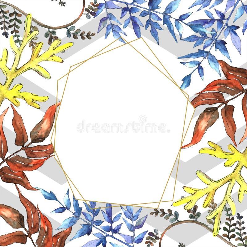 Fern Leaves Follaje floral del jardín botánico de la planta del freno de la hoja Cuadrado del ornamento de la frontera del capítu ilustración del vector