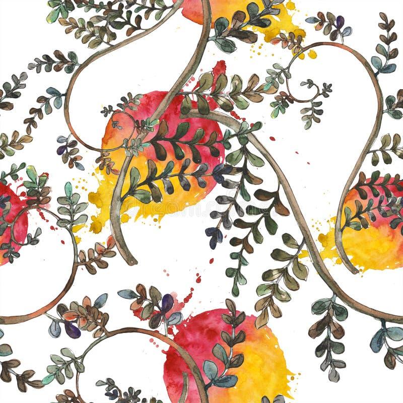 Fern Leaves Follaje floral del jardín botánico de la planta del freno de la hoja Modelo inconsútil del fondo ilustración del vector