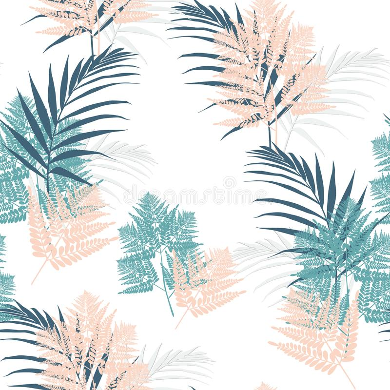 Fern and palm tropical leaves seamless pattern . Bush plant leaves decoration on white background. Green jade bracken and new Zealand fern tropical forest vector illustration