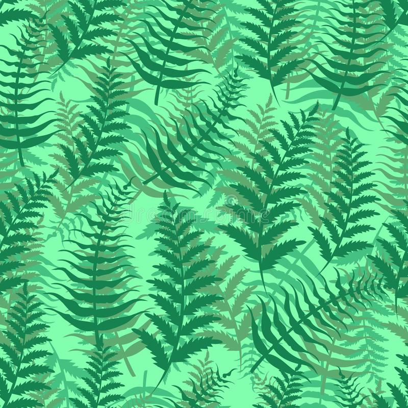 Fern seamless pattern exotic background nature green leaf plant vector illustration. royalty free illustration
